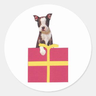 Boston Terrier Gift Box Classic Round Sticker