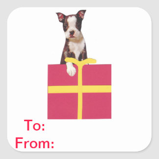 Boston Terrier Gift Tags To and From Sticker