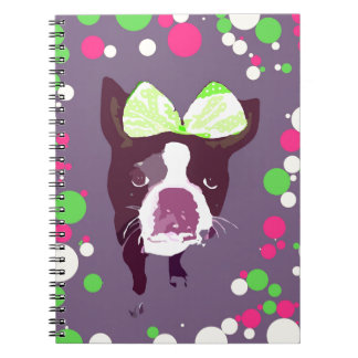 Boston Terrier Girl Bow Pop Art Spiral Notebook