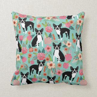 Boston Terrier Girly Vintage Flowers Print - cute Throw Pillow
