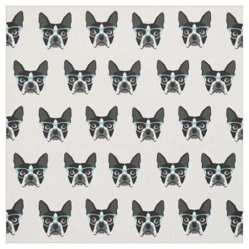 Boston Terrier Glasses Cute Dog Fabric Zazzle Com