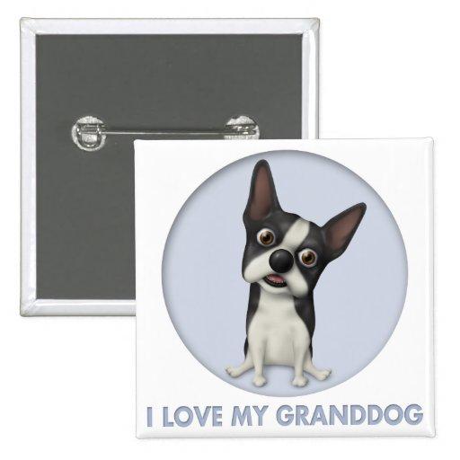 Boston Terrier Granddog 2 Inch Square Button