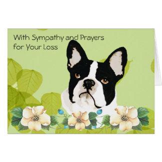 Boston Terrier, Green Leaf Floral Card