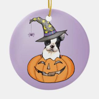 Boston Terrier Halloween Adorno Navideño Redondo De Cerámica