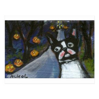 Boston Terrier Halloween fantasmagórico Postales