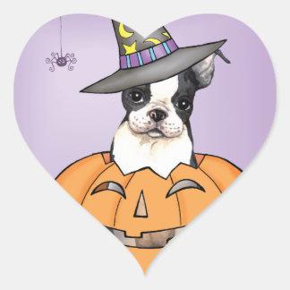 Boston Terrier Halloween Heart Sticker