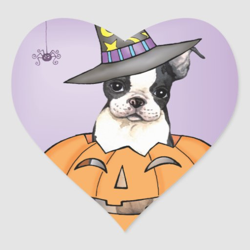 Boston Terrier Halloween Heart Sticker