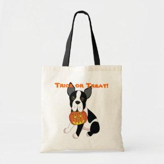 Boston Terrier  Halloween Trick or Treat Bag