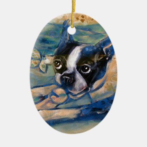 Boston Terrier happiness tribute Christmas Tree Ornament