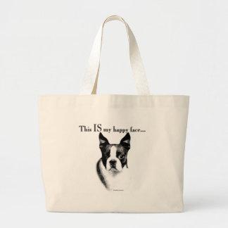Boston Terrier Happy Face Jumbo Tote Bag