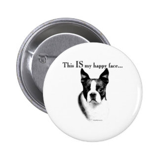 Boston Terrier Happy Face - Button