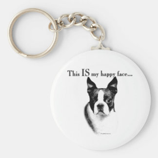Boston Terrier Happy Face Keychain