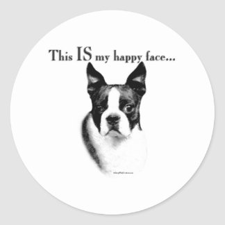 Boston Terrier Happy Face - Sticker