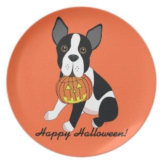 Boston Terrier Happy Halloween Plate