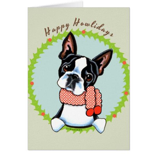 Boston Terrier Happy Howlidays Card