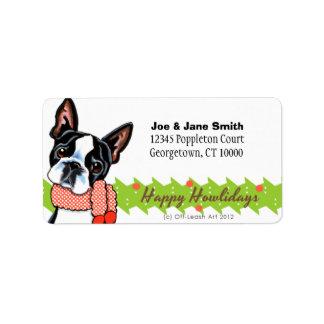 Boston Terrier Happy Howlidays Christmas Label