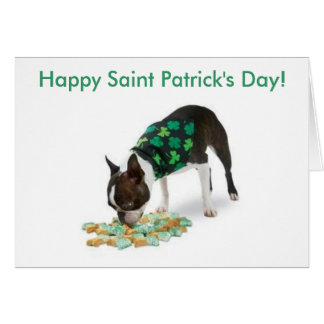 Boston Terrier Happy St. Patrick's Day Card
