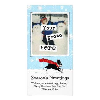 Boston Terrier - Happy Winter Snow Dog Photo Card Template