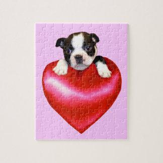 Boston terrier heart jigsaw puzzles