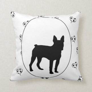 Boston Terrier Hearts and Pawprints Throw Pillow