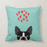 Boston Terrier - Hearts, Cute Funny Dog Cute Valen Pillows