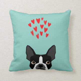 Boston Terrier - Hearts, Cute Funny Dog Cute Valen Throw Pillow