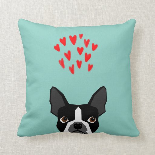 Boston Terrier - Hearts, Cute Funny Dog Cute Valen Throw Pillow Zazzle