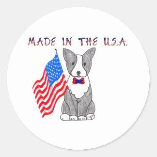 Boston Terrier hecho en el pegatina de los