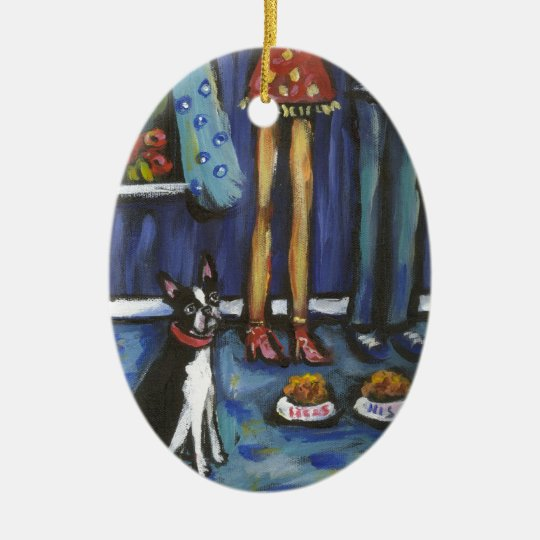 Boston Terrier His & Hers Ceramic Ornament