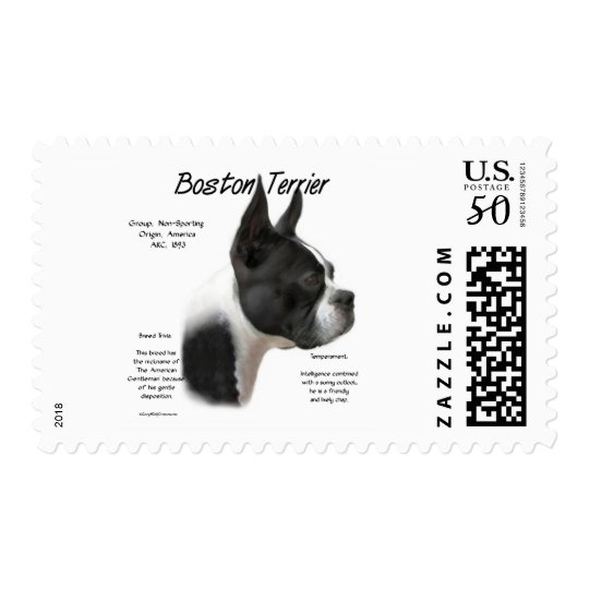 Boston Terrier History Design Postage