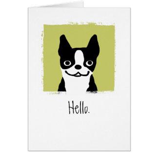 "Boston Terrier ""hola "" Tarjeta Pequeña"