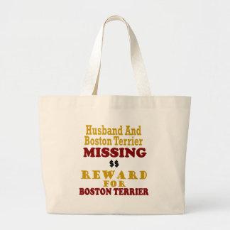 Boston Terrier  & Husband Missing Reward For Bosto Tote Bag