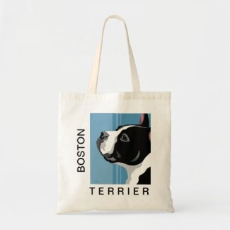 Boston Terrier Illustration Canvas Bags