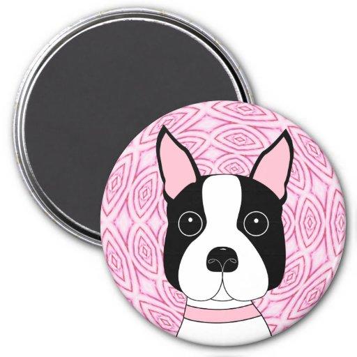 Boston Terrier Imán Redondo 7 Cm