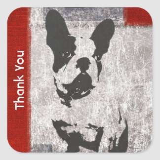 Boston Terrier in Black and White Thank You Square Sticker