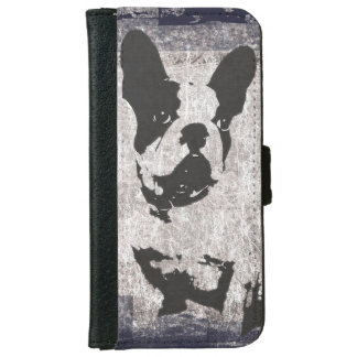 Boston Terrier in Black and White Wallet Phone Case For iPhone 6/6s
