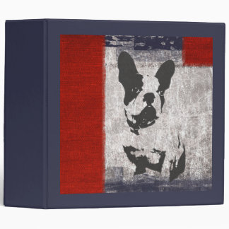 Boston Terrier in Black and White With Red Border Binder