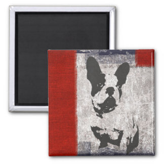Boston Terrier in Black and White With Red Border Magnet