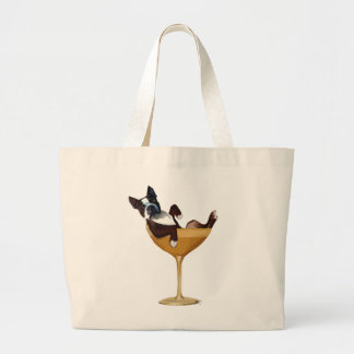 Boston Terrier in Cocktail Glass Large Tote Bag