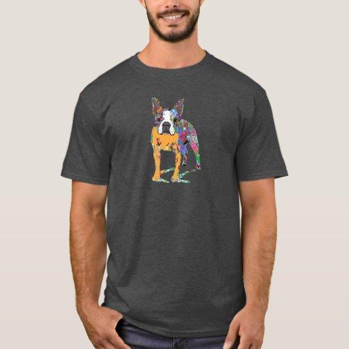 Boston Terrier in graffiti T_Shirt