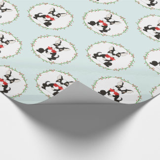 Boston Terrier in Red Bow Tie Christmas Wrapping Paper