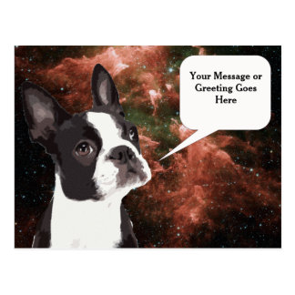 Boston Terrier in Space Postcard