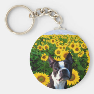 Boston Terrier in Sunflowers keychain