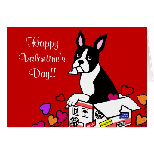 Boston Terrier in the Box Cartoon Cards
