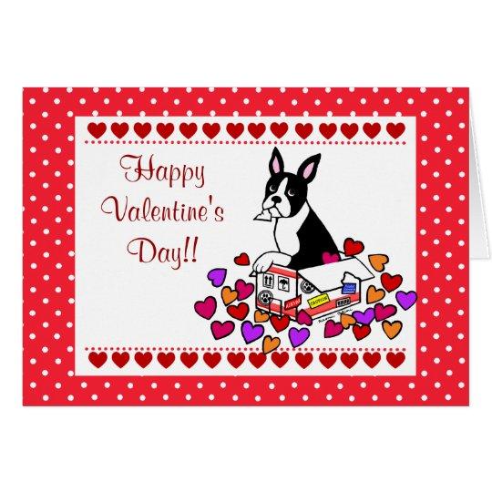 Boston Terrier in the Box Cartoon Valentine Card