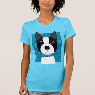 Boston Terrier in Winter T Shirt