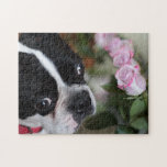 "Boston terrier jigsaw puzzle<br><div class=""desc"">Very handsome Boston terrier with roses</div>"