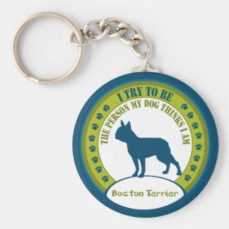 Boston Terrier Basic Round Button Keychain