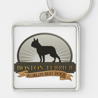 Boston Terrier Silver-Colored Square Keychain