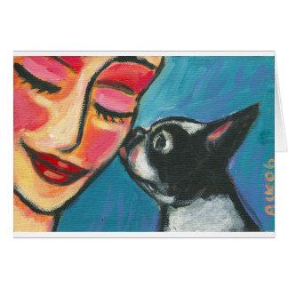 Boston Terrier kiss Card